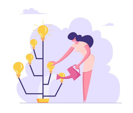 Businesswoman Watering Idea Tree with Glowing Light Bulbs on Branches. Startup Creative Project Bringing Financial Money Success, Brainstorm Insight Harvesting Process Cartoon Flat Vector Illustration