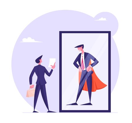 Usual Office Manager Look at Mirror with Reflection of himself as Successful Business Man in Super Hero Cape. Employee Dream to Become Wealthy Businessman Concept Cartoon Flat Vector Illustration