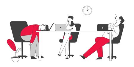 Procrastination Concept. Boring, Procrastinating and Lazy Businesspeople Employees Sleeping and Yawning at Workplace Office Desk Postponing Work, Unprofitable Time Cartoon Flat Vector Illustration