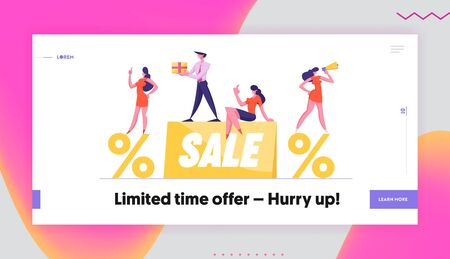 Discount Offer Announcement Website Landing Page. Businesspeople Promoters with Loudspeaker and Gift Box Stand on Huge Sale Banner and Percent Symbols Web Page Banner. Cartoon Flat Vector Illustration