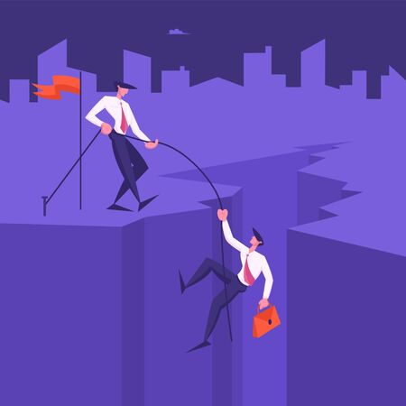 Business Man Climbing on Mountain Peak from Cleft Bottom, Leader Pull Colleague with Rope. Assistance, Team Work, People Working Together for Goal Achievement Concept Cartoon Flat Vector Illustration