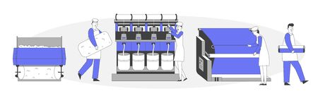 Modern Textile Factory. Automated Machine for Yarn Producing. Manufacturing of Wool Fibers Wrapping Machine Screwed on Big Shaft. Plant Machinery Equipment Cartoon Flat Vector Illustration, Line Art 矢量图片
