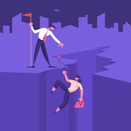 Business Team Climbing Up of Cleft. Businessman Giving Hand to Businesswoman Going Up on Cliff Top. Success Career Performance, Investment, Leadership Teamwork Concept Cartoon Flat Vector Illustration Иллюстрация