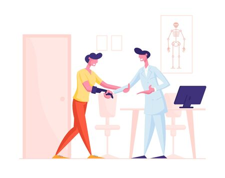Handicapped Man Visiting Doctor for Rehabilitation and Treatment. Patient with Arm Prosthesis Communicate with Practitioner in Hospital for Recreation, Medical Support Cartoon Flat Vector Illustration