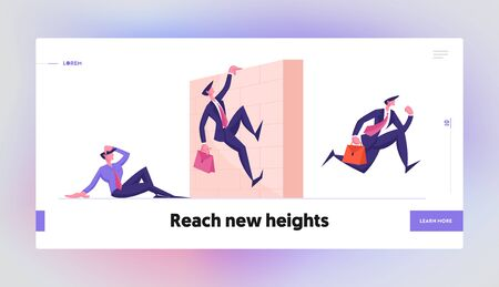 Business People Obstacle Race Website Landing Page. Managers Jumping over Barrier Wall on Stadium. Leadership Running, Colleagues Steeplechase Track Web Page Banner. Cartoon Flat Vector Illustration