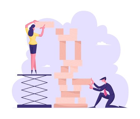 Corporate Business Strategy Concept. People Playing Team Game Building Huge Tower of Wooden Blocks. Company Recreation, Board Game Challenge, Colleagues Teamwork, Cartoon Flat Vector Illustration Иллюстрация