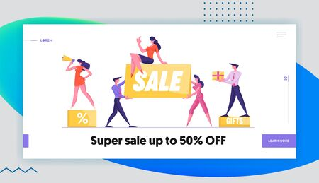 Big Sale Website Landing Page. Woman Promoter with Megaphone Stand on Podium with Percent Symbol. Customer Holding Gift. Special Shopping Offer Web Page Banner. Cartoon Flat Vector Illustration