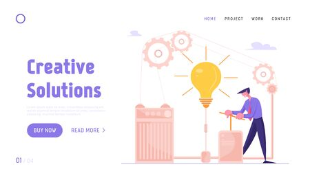 Creative Idea, Brainstorm, Searching Task Solution Website Landing Page. Businessman Push Huge Lever Arm to Switch on Light Bulb in Difficult Mechanism Web Page Banner Cartoon Flat Vector Illustration Иллюстрация