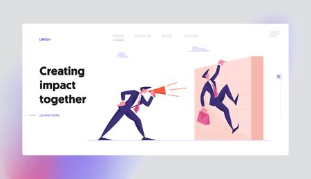 Deadline, Company Leader Hurry Overwork Worker with Job Website Landing Page. Businessman Boss Shouting in Megaphone on Office Employee Climbing over Wall Page Banner. Cartoon Flat Vector Illustration Vectores
