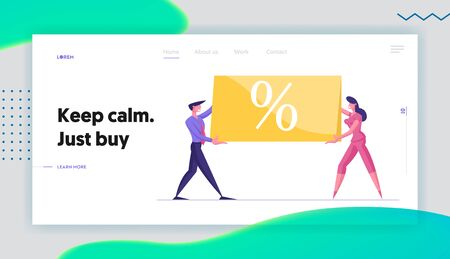 Total Sale Discount and Price Off Day Website Landing Page. Businesspeople Holding Huge Banner with Percent Sign. Shop Special Offer, Shopping Promo Web Page Banner. Cartoon Flat Vector Illustration 일러스트