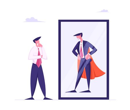 Thoughtful Business Man Look in Mirror on Reflection of Successful Leader in Super Hero Cape, Best Businessman, Number One Employee, Financial Goal Achievement Concept Cartoon Flat Vector Illustration