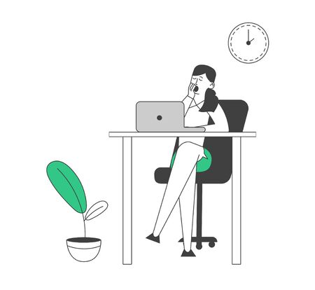Procrastination Concept. Procrastinating Lazy Businesswoman Employee Yawning at Workplace Sitting at Office Desk Postponing Work, Unprofitable Working Time Cartoon Flat Vector Illustration, Line Art