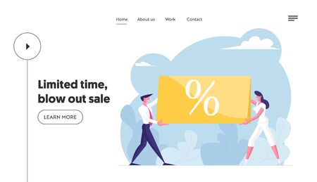 Total Sale Website Landing Page. Business Man and Woman Customer Holding Huge Banner with Percent Symbol. Special Offer Promotion, Discount Shopping Web Page Banner. Cartoon Flat Vector Illustration