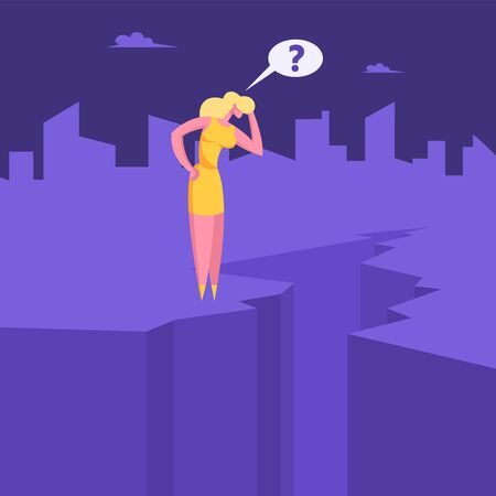Crisis Concept. Confused Businesswoman Stand on Edge of Cleft with Question Mark over Head Looking Down to Abyss Female Manager Character Try Avoid Dangerous Situation Cartoon Flat Vector Illustration Standard-Bild - 140809731