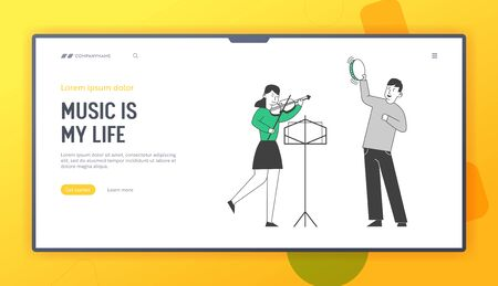 Children Get Education in Music School Website Landing Page. Creative Duet of Boy Playing on Tambourine and Girl with Violin Perform on Stage Web Page Banner Cartoon Flat Vector Illustration, Line Art