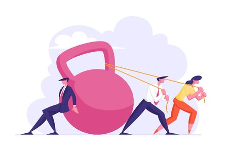 Group of Businesspeople Dragging Huge Weight Pushing and Pulling Dumbbell on Ropes, Businessmen and Businesswoman Bank Loan, Tax Payment Obligation, Financial Debt Cartoon Flat Vector Illustration