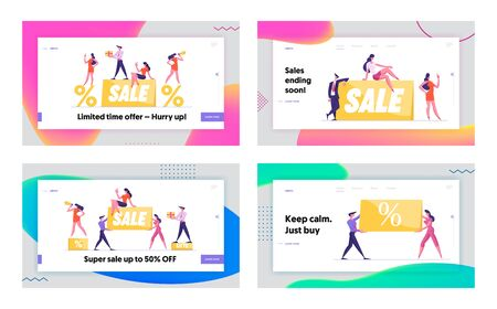 Promotion Discount and Price Off Day Website Landing Page Set. Promoters with Sale Banner and Percent Symbols, Shopping Advertisement and Consumerism Web Page Banner. Cartoon Flat Vector Illustration 일러스트