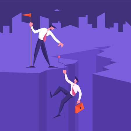 Business Leader Character Help Colleague Climb to Top of Cleft with Hoisted Red Flag, Businessman Help Teammate to Go Up on Mountain Peak. Teamwork, Leadership Concept Cartoon Flat Vector Illustration