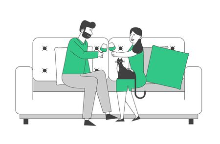 Young Loving Couple Spend Time at Home Sitting on Couch Together Chatting, Drinking Wine with Cat Sitting nearby on Weekend Evening. Love Flirting Sparetime. Cartoon Flat Vector Illustration, Line Art Иллюстрация