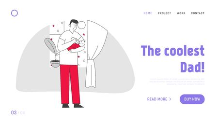 Single Father Raising Child Website Landing Page. Dad Feed Son with Bottle Holding Baby on Hands