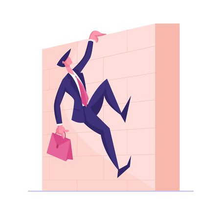 Successful Leader Business Man Character Holding Briefcase in Hand Climbing Wall, Businessman Running Sprint Race