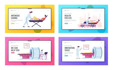Health Care Website Landing Page Set. Magnetic Resonance Imaging Digital Technology in Medicine Diagnostic