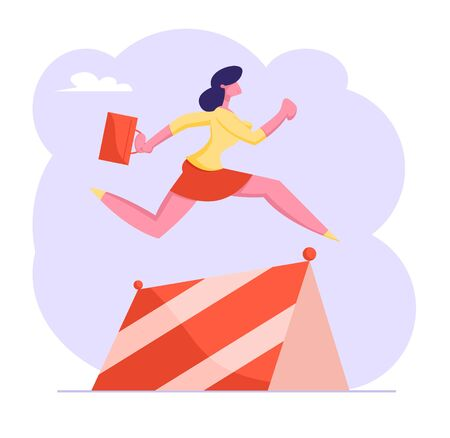 Business Woman Character with Briefcase in Hand Running on Stadium Jumping over Barriers. Successful Businesswoman