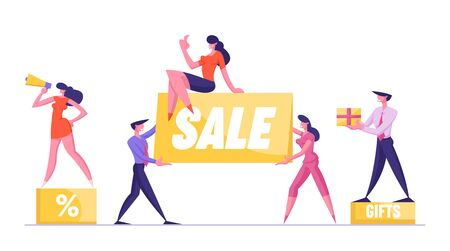 Big Sale Concept. Woman Promoter with Megaphone Stand on Podium with Percent Symbol. Customer Holding Gift