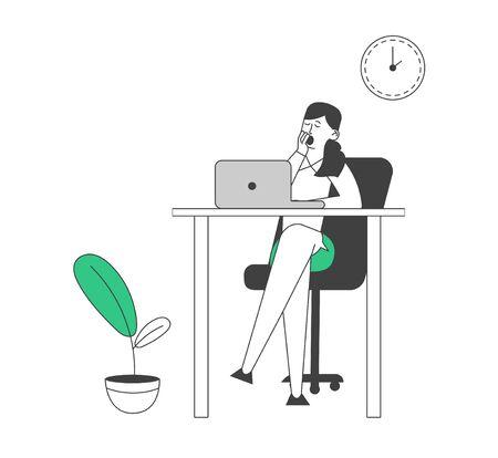 Procrastination Concept. Procrastinating Lazy Businesswoman Employee Yawning at Workplace Sitting at Office Desk