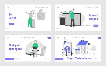 People Using Smart Devices and Technologies Website Landing Page Set. Characters Use Gadgets, Making Selfie