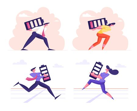 Set Business Race from the Last Force Concept. Exhausted Businesspeople Run on Stadium with Huge Battery Ilustrace