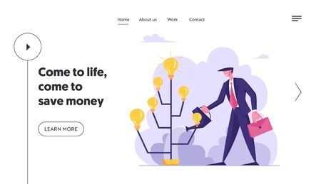 Startup Project Bringing Financial Money Success Website Landing Page. Creative Businessman Watering Idea Tree with Glowing Light Bulbs on Branches Web Page Banner. Cartoon Flat Vector Illustration