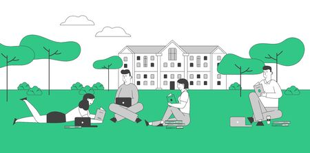 Young People Studying Together Outdoors on Nature Background. Collective Studying, University Exam Preparation. Learning Courses, Education with Textbooks Cartoon Flat Vector Illustration, Line Art Ilustrace