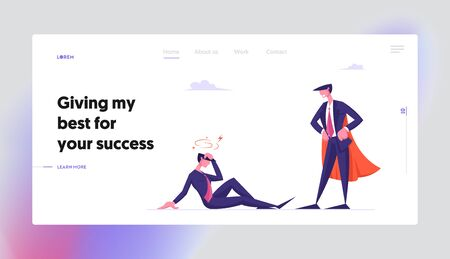 Dont Give Up, Never Stop Trying Website Landing Page. Confused Businessman with Dizzy Head Sitting on Ground at Successful Man in Super Hero Costume Web Page Banner. Cartoon Flat Vector Illustration Ilustrace