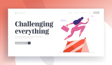 Work Leadership Website Landing Page. Business Woman Running and Jumping over Barriers. Successful Businesswoman Marathon Obstacle Race Challenge Web Page Banner. Cartoon Flat Vector Illustration