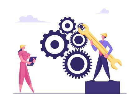 Team Work Cooperation in Gears Mechanism. Businesspeople Engaged in Business Direction to Successful Path Move Huge Cogwheel Machine Man Technician Support Hold Wrench Cartoon Flat Vector Illustration Ilustrace