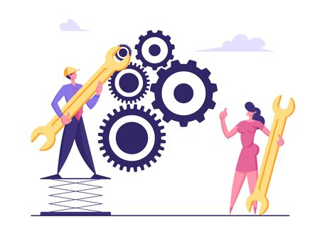 Working Routine Process and Teamwork Concept. Male and Female Business Characters Moving Huge Gear Mechanism Using Wrenches. Man and Woman Managing Cogwheel Process. Cartoon Flat Vector Illustration Ilustrace