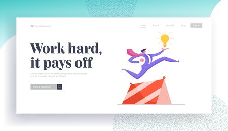 Businessman Creative Idea, Successful Startup Project Website Landing Page. Business Man Character Jumping over Barrier Holding Huge Glow Light Bulb Web Page Banner. Cartoon Flat Vector Illustration