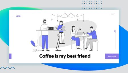 People Recreation Leisure Website Landing Page. Characters Sitting in Cafe, Chatting in Mobile Phone Using Wifi Internet, Drink Coffee Web Page Banner. Cartoon Flat Vector Illustration, Line Art