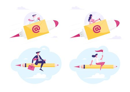 Set of Businesspeople Flying on Pencil E-mail Rocket to Working Success and Goal Achievement Reach New Level of Development and Career Boost Business People Characters Cartoon Flat Vector Illustration