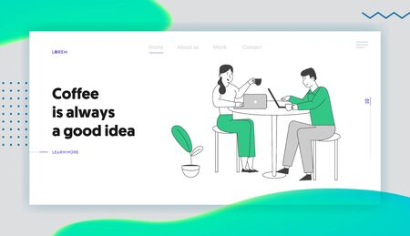 Young People Visiting Cafe and Website Landing Page. Characters Sitting at Tables Drinking Beverages, Working on Laptop in Modern Restaurant Web Page Banner. Cartoon Flat Vector Illustration, Line Art