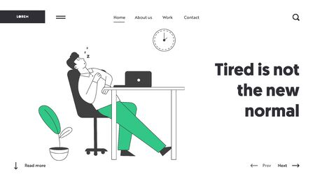 Procrastination, Overwork Burnout Symptom Website Landing Page. Lazy, Boring or Tired Businessman with Low Life Energy Sleep at Working Place Web Page Banner. Cartoon Flat Vector Illustration Line Art