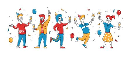 Birthday Party. Group of Cheerful Drunk People in Festive Hats with Wineglasses in Hands Celebrating Holiday on White Background with Balloons and Confetti. Cartoon Flat Vector Illustration, Line Art