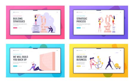 Business Strategy, Ideas Producing and Barrier in Career Website Landing Page Set. Businesspeople Building Wooden Blocks, Watering Tree with Bulbs Web Page Banner. Cartoon Flat Vector Illustration