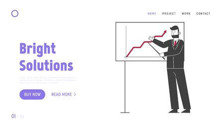 Presentation Conference, Business Meeting Website Landing Page. Trainer Giving Financial Consultation at Whiteboard with Data Analysis Chart Web Page Banner. Cartoon Flat Vector Illustration, Line Art