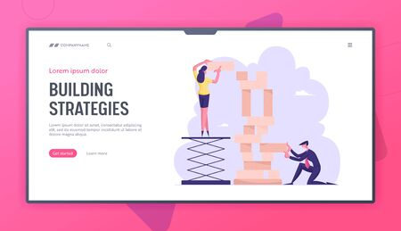 Corporate Business Strategy Website Landing Page. People Playing Team Game Building Tower of Wooden Blocks. Board Game Challenge, Colleagues Teamwork Web Page Banner. Cartoon Flat Vector Illustration