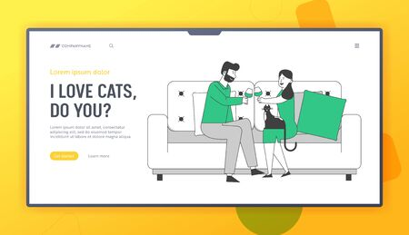 Couple Love, Dating Sparetime Website Landing Page. Young Loving Pair Spend Time at Home Sitting on Couch Chatting, Drinking Wine with Cat Web Page Banner. Cartoon Flat Vector Illustration, Line Art