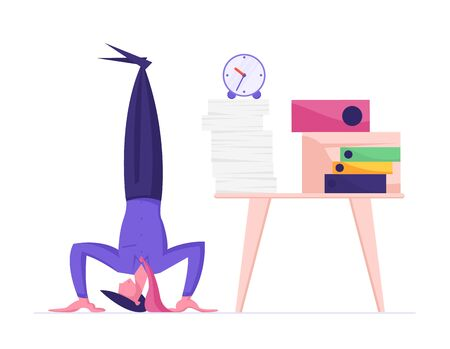 Businessman Stand on Head at Workplace with Pile of Paper Documents and Alarm Clock. Business Laziness, Time Management, Work Procrastination, Working Productivity Cartoon Flat Vector Illustration