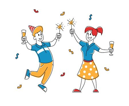 Birthday Party Celebration. Cheerful People in Festive Hats with Wine Glasses in Hands Celebrating Holiday on White Background with Balloons and Confetti. Cartoon Flat Vector Illustration, Line Art Ilustrace