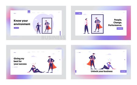 Dream, Career Success Aspiration Website Landing Page Set. Manager Dreaming to Be Powerful Super Hero, Best Employee Financial Goal Achievement Path Web Page Banner. Cartoon Flat Vector Illustration Ilustrace